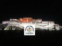 Vu de nuit, eclairé par de nombreux projecteurs, le Potala semble sorti d'un tableau